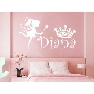 Girl Name Fairy Crown Sticker Personalized Name Nursery Baby Kids Custom Name Vinyl Sticker Decal size 22x30 Color Black