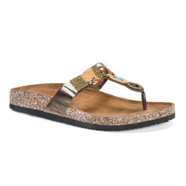 MUK LUKS Women's Salene Brown Suede Sandals 23378936