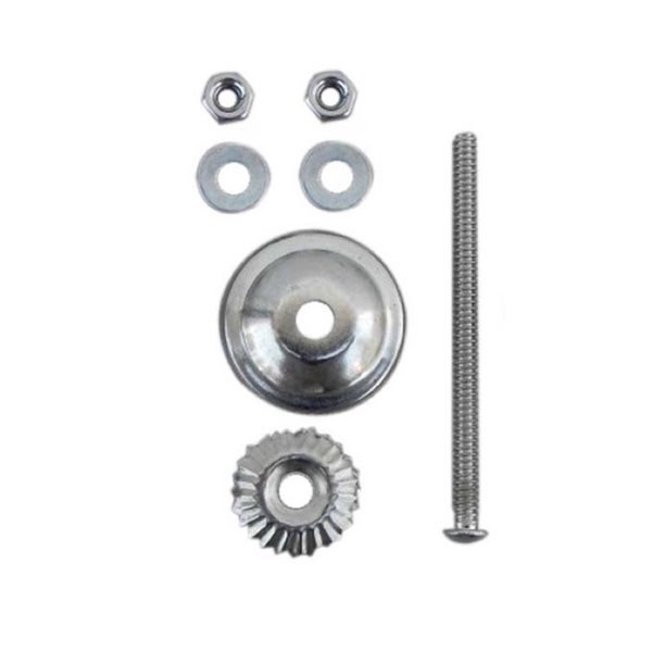 Silver Chrome Knob Fittings for Knobs and Pulls, with 2.5-inch Bolt, Washers, Nuts, and Metal Flower (Pack of 6) 23380236