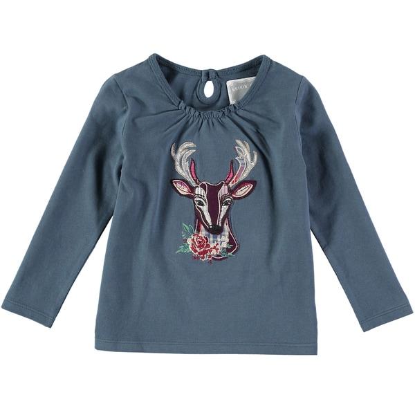Rockin Baby Girl's Teal Deer Applique Cotton T-shirt 23390064