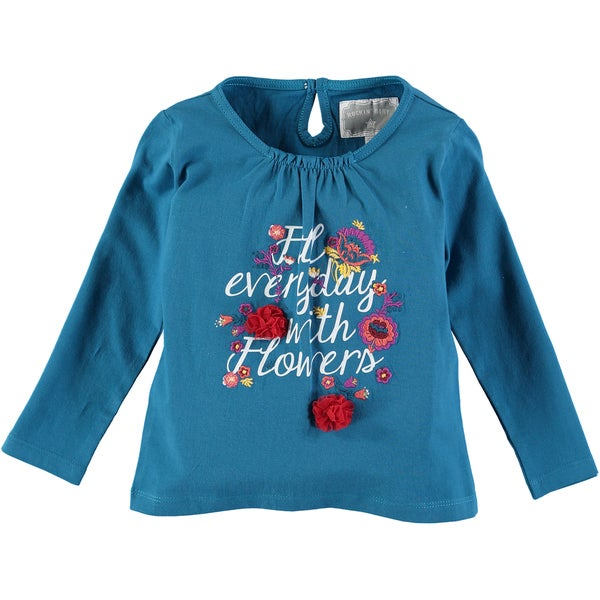 Rockin Baby Girls' Teal Cotton Flower Embroidered T-shirt 23391304