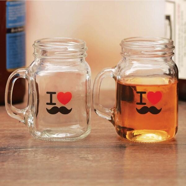 4 Piece 5 Oz I Love Mustache Mini Mason Shot Mug Set 23394748