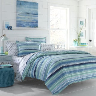 Poppy and Fritz Alex Blue Cotton 3-piece Comforter Set