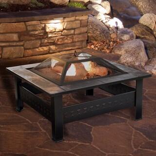 Pure Garden Bronze 32-inch Square Tile Fire Pit - 32 x 32 x 18
