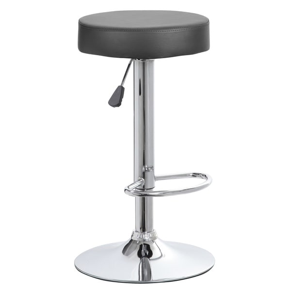 Faux Leather and Chrome Adjustable Height Swivel Barstool 23424908