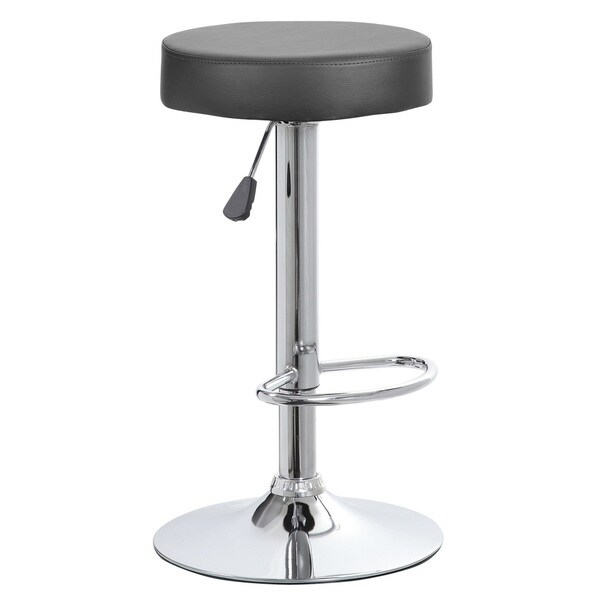 Faux Leather and Chrome Adjustable Height Swivel Barstool 23424911
