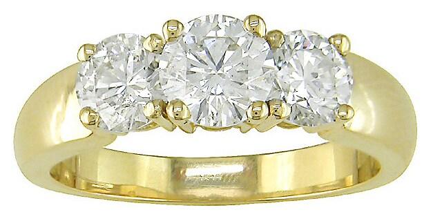 Miadora 14k Yellow Gold 1-1/2ct TDW Round Diamond Three-Stone Ring (H-I, I1)