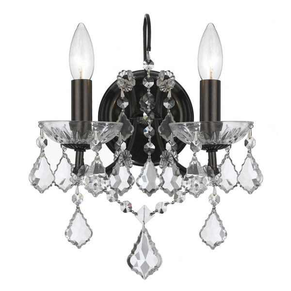 Crystorama Filmore Collection 2-light Vibrant Bronze/Swarovski Strass Crystal Wall Sconce 23437182