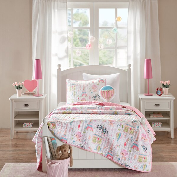 Mi Zone Kids Penelope the Poodle Pink Printed 4-piece Coverlet Set 23439050