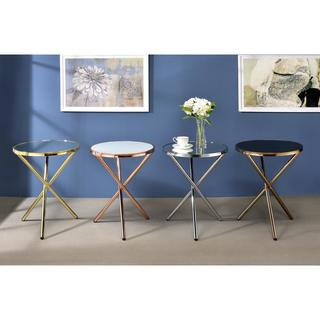 ACME Lajita Metal and Glass Contemporary Side Table