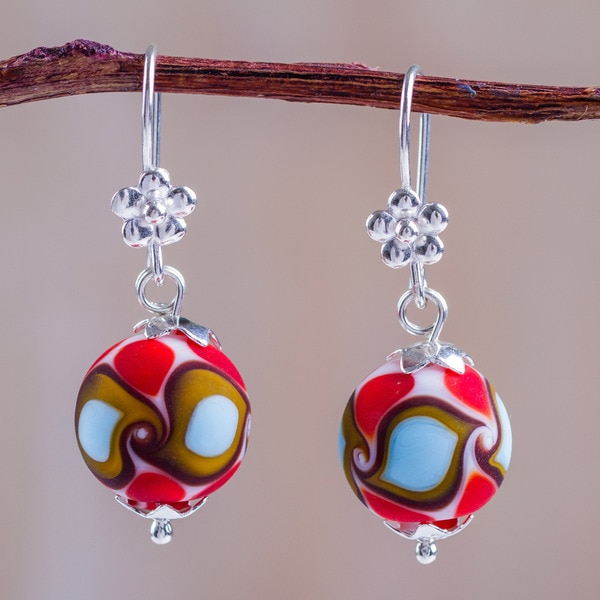 Handcrafted Sterling Silver Blown Glass 'Murano Charm' Earrings (Peru) 23477919
