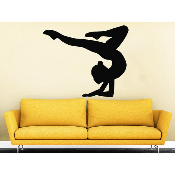 Gymnast Wall Decals Sport Girl Gymnastics Dance Studio Decal Home Sticker  Decal Size 22x26 Color Black