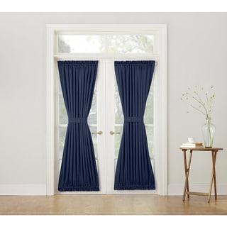 Porch & Den Inez Blue Rod-pocket Room-darkening Window Door Panel