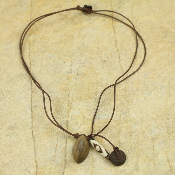 Handcrafted Leather Soapstone 'Safari' Necklace (Ghana) 23493019