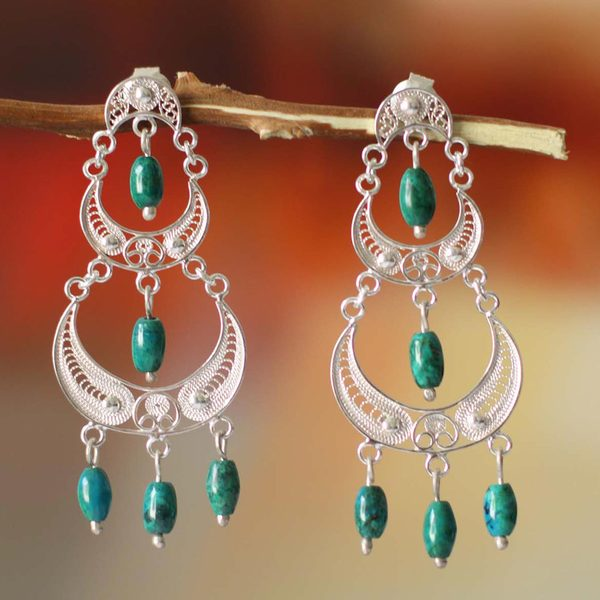 Handmade Sterling Silver 'Moon Goddess' Chrysocolla Earrings (Peru) 23493312
