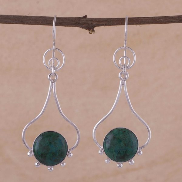 Handcrafted Sterling Silver 'Andean Moon' Chrysocolla Earrings (Peru) 23493313