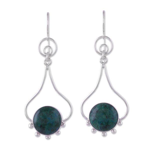 Handmade Sterling Silver 'Andean Moon' Chrysocolla Earrings (Peru) 23493313