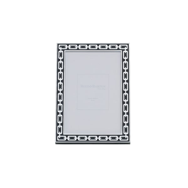 Reed & Barton Silver Link Midnight Metal/ Glass 4 x 6 Frame 23494177