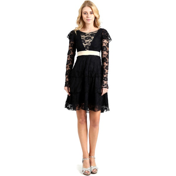 Evanese Women's Lace Cocktail Tiered Short-skirt Dress with Long Sleeves 23494962