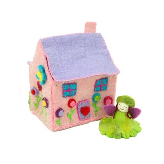 Handmade Felted Tiny Dream House with Flower Fairy (Nepal)
