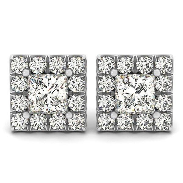 14k Gold 1.85ct Diamond Princess-cut Halo Stud Earrings 23499843