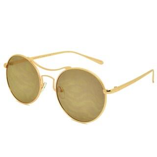 Dasein Vintage Flat Mirrored Lens Metal Arm Round Sunglasses