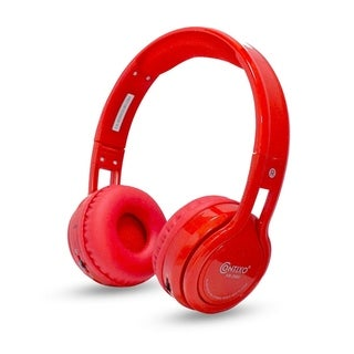 Contixo KB-2600 Kid Safe 85DB, Wireless Bluetooth Red LED Headphone with Volume Limiter, Microphone, Micro SD, and FM Radio