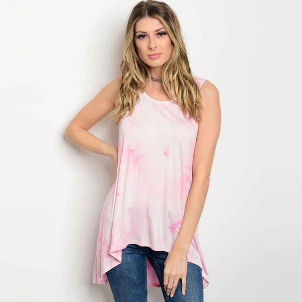 Shop The Trends Women's Rayon and Spandex Sleeveless Jersey-knit Scoop-neck Tie-dye-print Tank Top 23527080