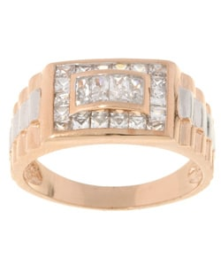 Icz Stonez Sterling Silver Two-tone CZ Bold Men's Ring