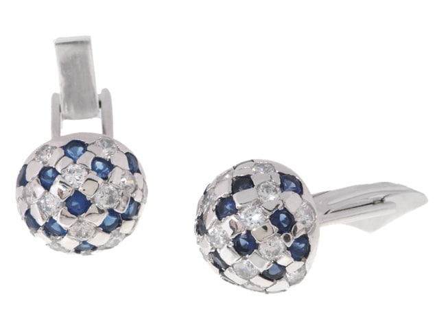 Icz Stonez Sterling Silver Blue and White CZ Round Cuff Links