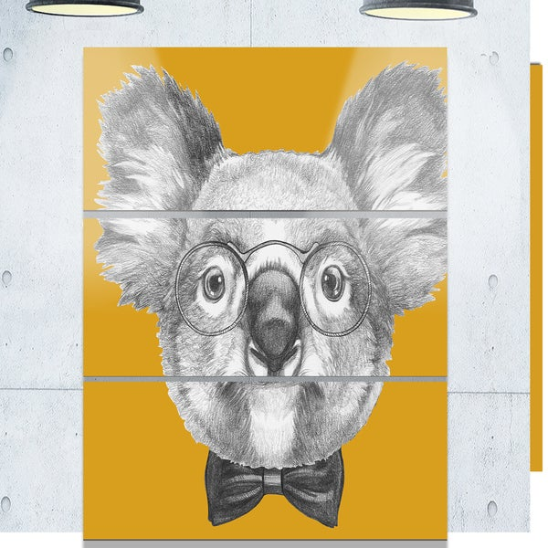 Designart 'Koala with Glasses and Bow Tie' Contemporary Animal Art Metal Wall Art 23542824
