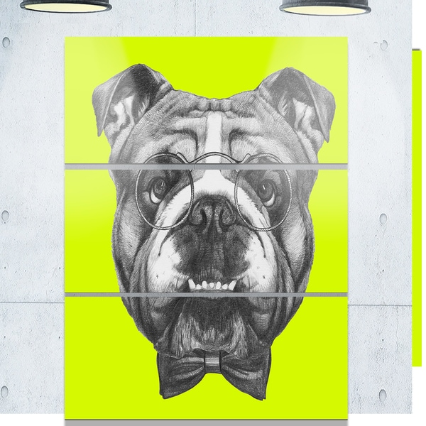 Designart 'English Bulldog with Bow Tie' Contemporary Animal Art Metal Wall Art 23542827