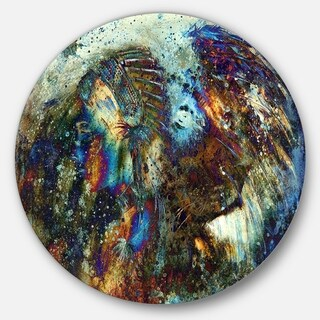 Designart 'Indian Woman Collage with Lion' Woman Glossy Metal Wall Art