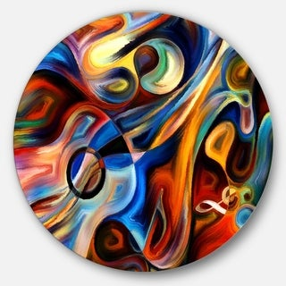 Designart 'Abstract Music and Rhythm' Abstract Glossy Circle Metal Wall Art