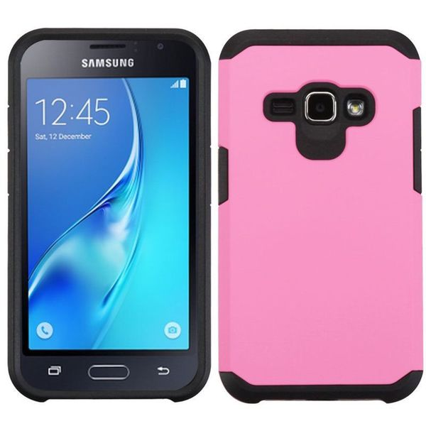 Insten Pink/ Black Hard PC/ Silicone Dual Layer Hybrid Rubberized Matte Case Cover For Samsung Galaxy Amp 2/ Express 3/ J1(2016) 23546361