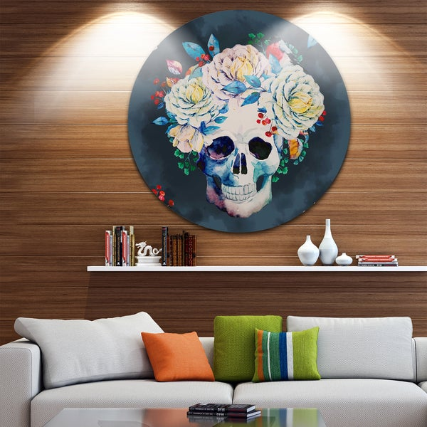 Designart 'Watercolor Vector Skull' Floral Digital Disc Aluminium Artwork 27840107