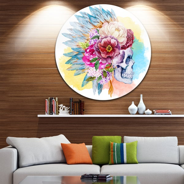 Designart 'Skull and Flowers' Digital Floral Disc Aluminium Artwork 23550611