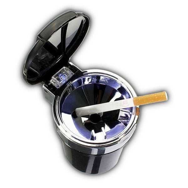 Zone Tech Black Portable Smokeless Ash Tray with Blue LED Light Indicator 23553796