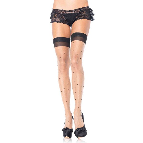 Leg Avenue Spandex Plus-size Polka-dot Sheer Thigh Highs with Cuban Heel 23554298
