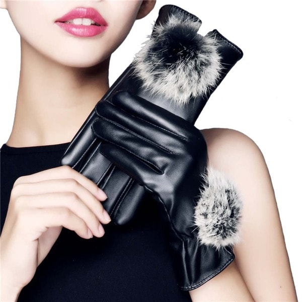 iPM Women's Touchscreen Black Leather Winter Gloves With Faux Fur Pom-Pom 23557707