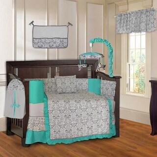 Damask Turquoise 10-piece Crib Bedding Set