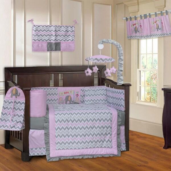 BabyFad Elephant ZigZag Elephant Pink 10-piece Crib Bedding Set 23560729