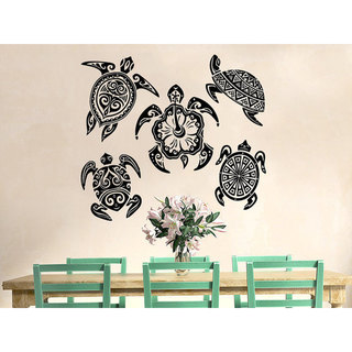 Sea Turtle Ocean Animals Interior Family Wall Decor Bedroom Bathroom Sticker Decal size 22x22 Color Black