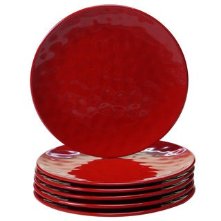 Certified International Solid Red Round Salad Plates, Set of 6