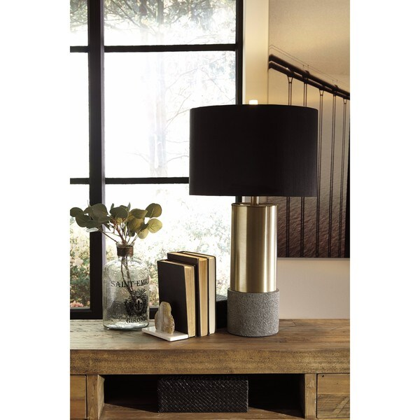 Signature Design by Ashley Jacek Gray/Brass Finish Metal Table Lamp (Set of 2) 23587124