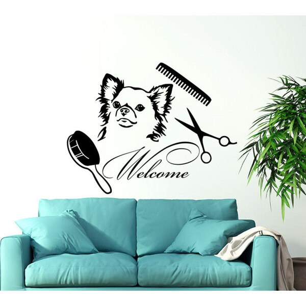 Dog Welcome Grooming Salon Pet Shop Animals Decor Sticker Decal size 22x22 Color Black 23595536