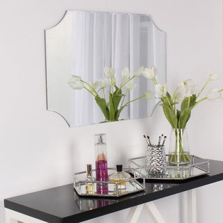 DesignOvation Reign Frameless Rectangle Scalloped Beveled Mirror - Silver - 19x28