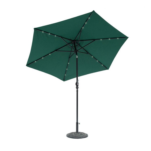 9 Foot Round Solar Lighted Umbrella Hunter Green 23604677