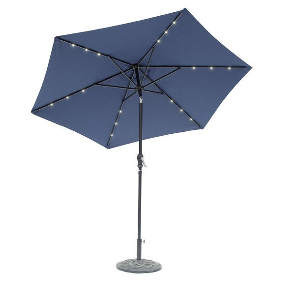 9 Foot Round Solar Lighted Umbrella Navy Blue 23604678