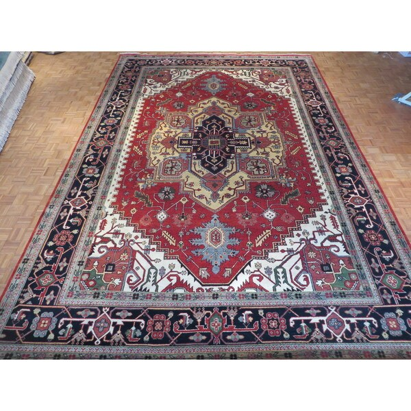 Hand Knotted Rust Red Serapi Heriz with Wool Oriental Rug (12 x 17'8) 23606921